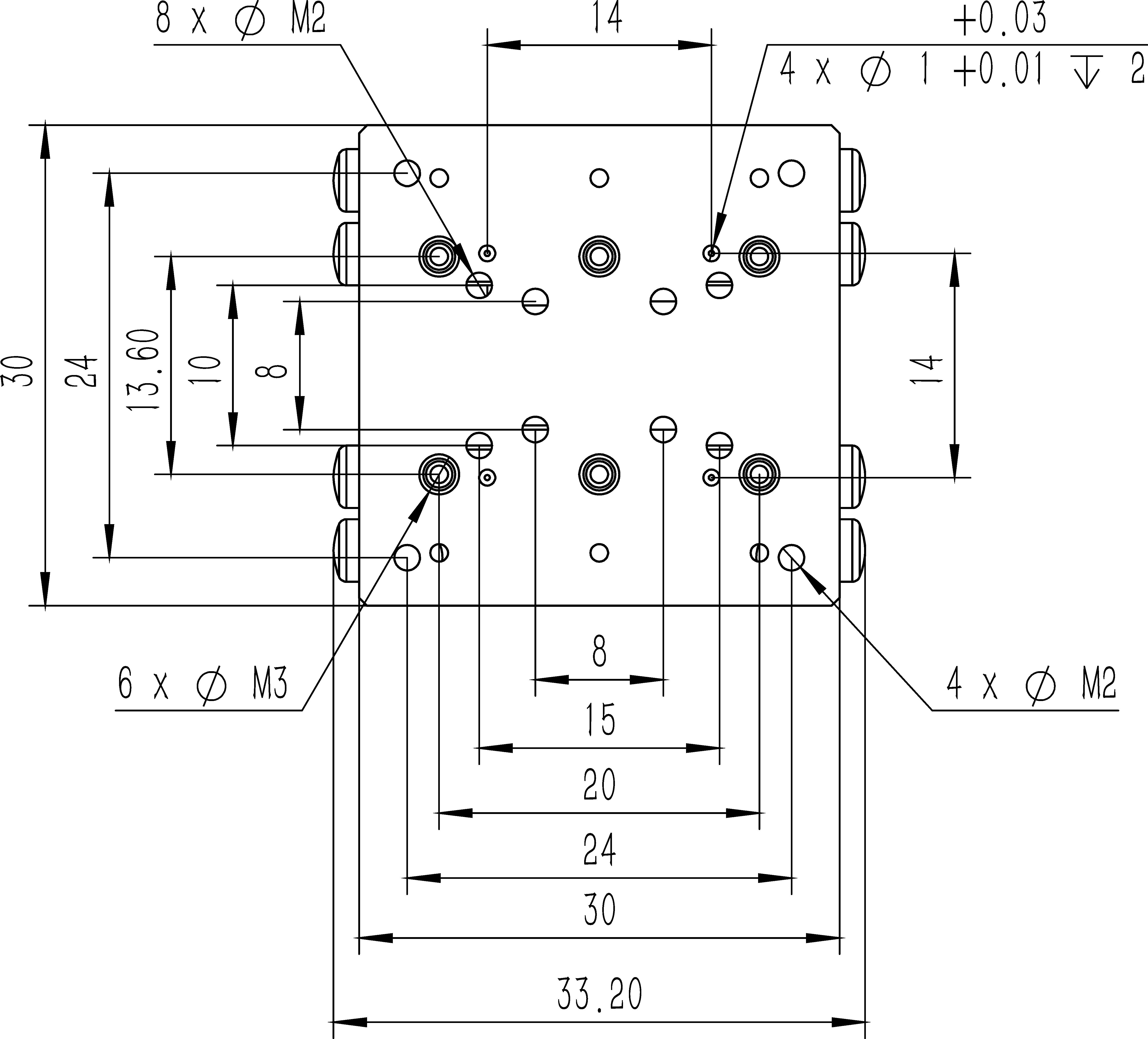 直线纳米位移MF30-20A尺寸