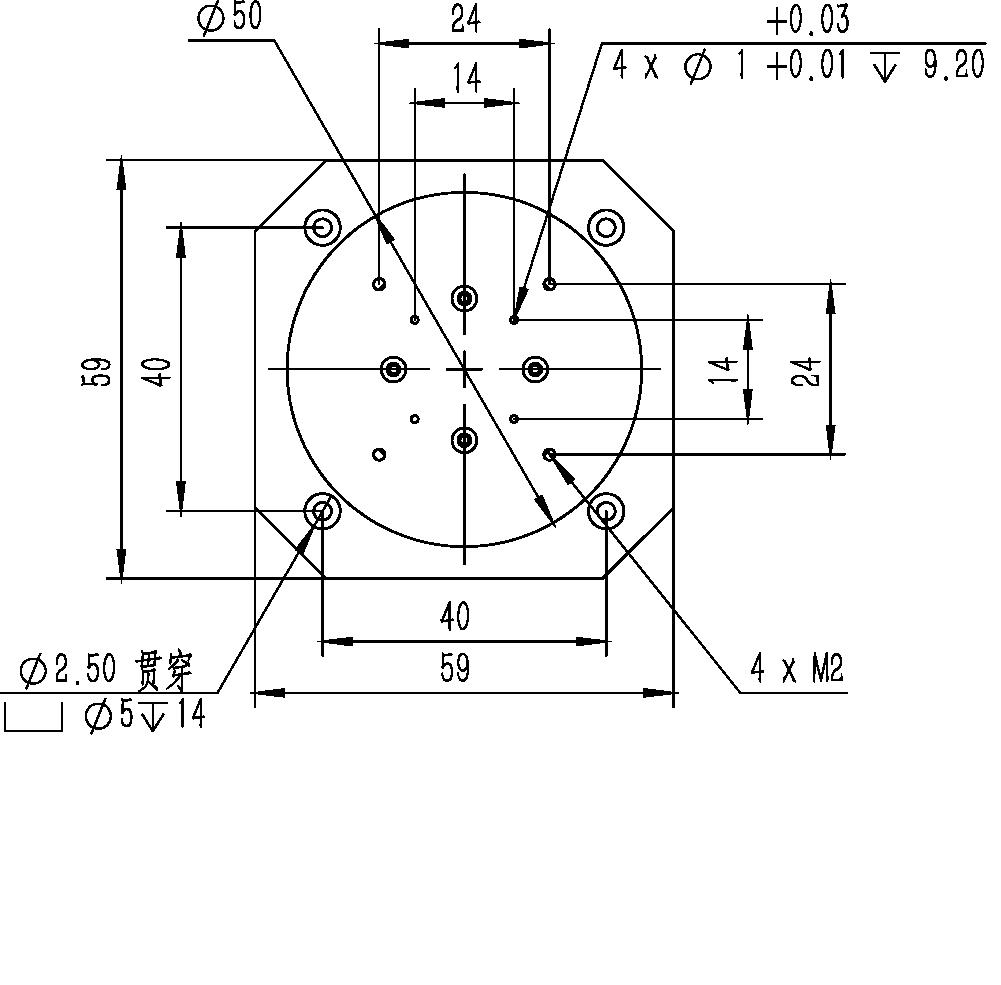 旋转纳米位移台RF-5950A尺寸图1