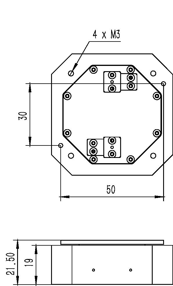 旋转纳米位移台RF-5950A尺寸图2