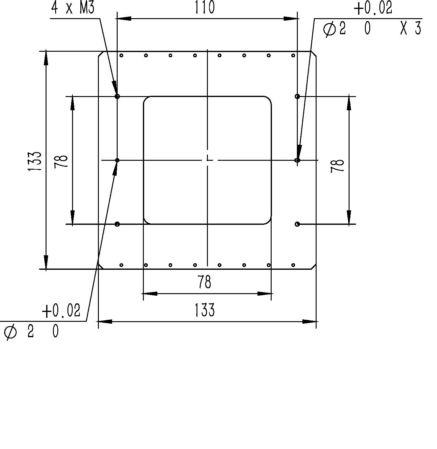 二维纳米位移台XYMF-133-100A平移台尺寸图1