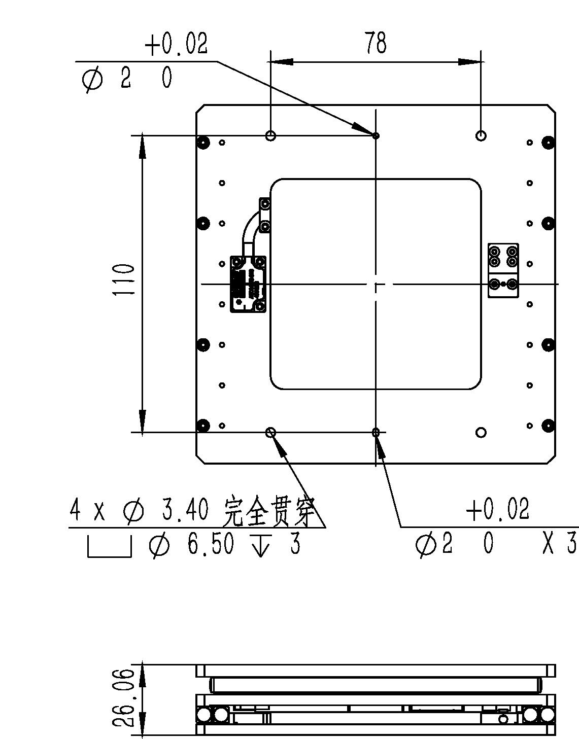 二维纳米位移台XYMF-133-100A平移台尺寸图2